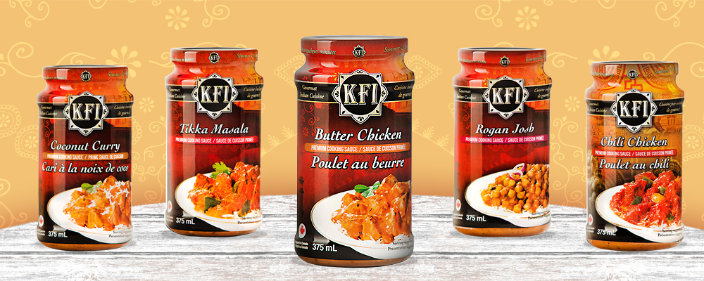 KFI Premium cooking and chutney sauces; Butter Chicken, Rogan Josh, Chili Chicken, Tikka Masala, Coconut curry