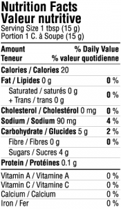 Tamarind & Date Chutney Sauce - Hot & Spicy Nutrition Facts